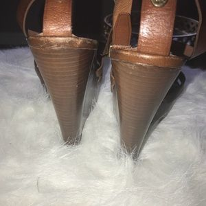 Burberry Brown Leather Sandals  Wedges